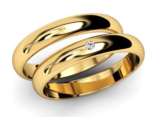 5dea83fb65df6 Par de Alianças de Ouro 18k 4 gramas Abaulada - Houros Joias