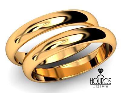 f91530e3809 Par de Alianças de Ouro 18k Abaulada Casamento ou Noivado - Houros Joias