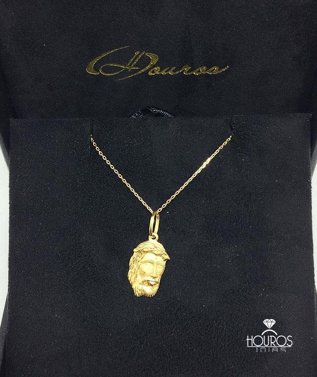2db086ccfdb Cordão de Ouro Masculino Corrente Cartier Cadeado 60cm + Pingente Face de  Cristo 1