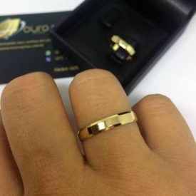 Par de Alianças de Casamento Chanfrada 3.5mm 4g Ouro 18k