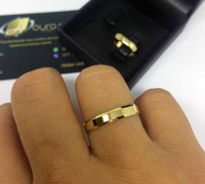 f91a8b35d41 Par de Alianças de Casamento Chanfrada 3.5mm 4g Ouro 18k - Houros Joias