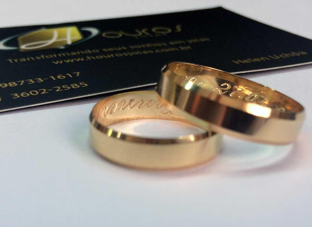 27d7a4988ac Par de Alianças de Casamento Facetada Polida Ouro 18k - Houros Joias