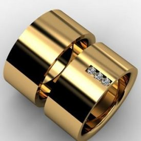 Par de Alianças Reta 10mm Brilhantes Ouro 18k