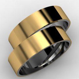 30ec9a42ac7 Par de Alianças Polida Base Prata com Camada de Ouro 18k